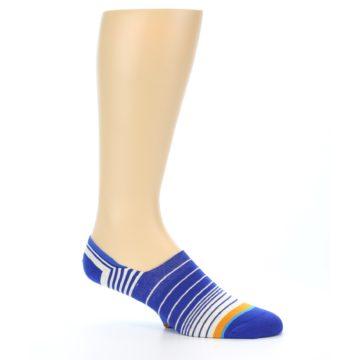 Image of Blue White Orange Stripe Men's Liner Socks (side-1-26)