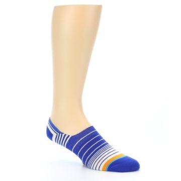 Image of Blue White Orange Stripe Men's Liner Socks (side-1-27)