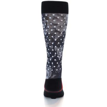 Image of Black White Polka Dot & Floral Men's Casual Socks (back-17)