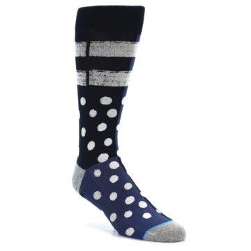 Image of Navy Blue White Dot & Stripe Men's Casual Socks (side-1-front-01)