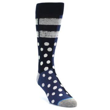 Image of Navy Blue White Dot & Stripe Men's Casual Socks (side-1-front-02)