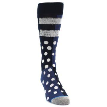 Image of Navy Blue White Dot & Stripe Men's Casual Socks (side-1-front-03)