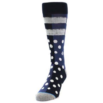 Image of Navy Blue White Dot & Stripe Men's Casual Socks (side-2-front-06)