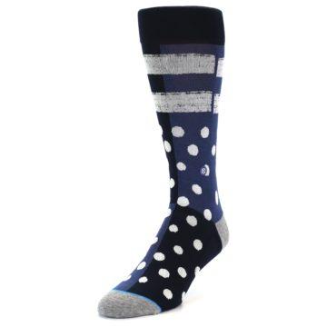 Image of Navy Blue White Dot & Stripe Men's Casual Socks (side-2-front-07)