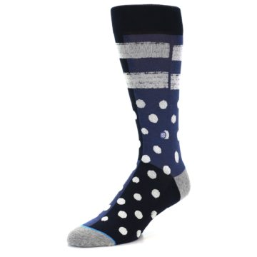Image of Navy Blue White Dot & Stripe Men's Casual Socks (side-2-front-08)