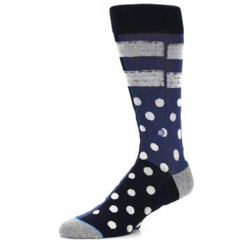 Image of Navy Blue White Dot & Stripe Men's Casual Socks (side-2-09)