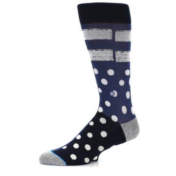 Image of Navy Blue White Dot & Stripe Men's Casual Socks (side-2-10)