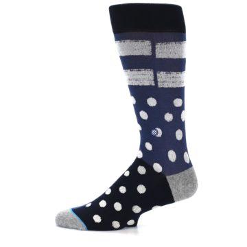 Image of Navy Blue White Dot & Stripe Men's Casual Socks (side-2-11)