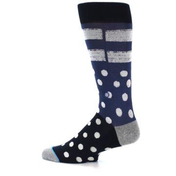 Image of Navy Blue White Dot & Stripe Men's Casual Socks (side-2-12)