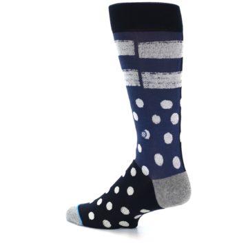 Image of Navy Blue White Dot & Stripe Men's Casual Socks (side-2-13)