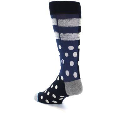 Image of Navy Blue White Dot & Stripe Men's Casual Socks (side-2-back-14)