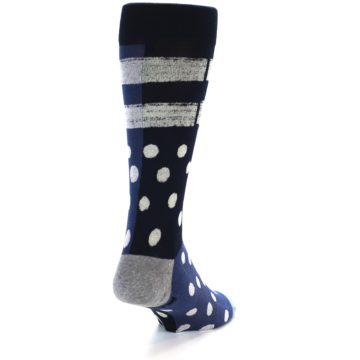 Image of Navy Blue White Dot & Stripe Men's Casual Socks (back-19)