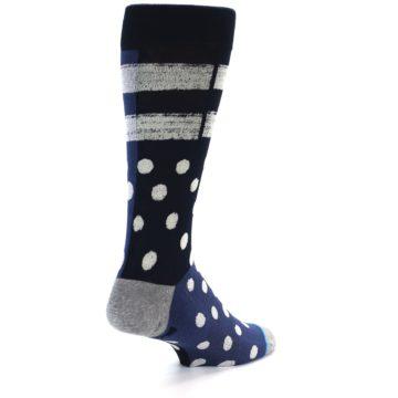 Image of Navy Blue White Dot & Stripe Men's Casual Socks (side-1-back-20)