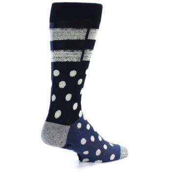 Image of Navy Blue White Dot & Stripe Men's Casual Socks (side-1-back-21)