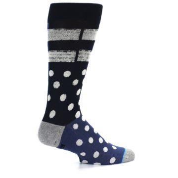 Image of Navy Blue White Dot & Stripe Men's Casual Socks (side-1-back-22)