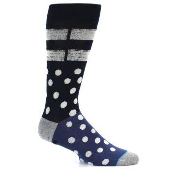 Image of Navy Blue White Dot & Stripe Men's Casual Socks (side-1-24)