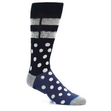 Image of Navy Blue White Dot & Stripe Men's Casual Socks (side-1-25)