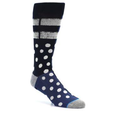 Image of Navy Blue White Dot & Stripe Men's Casual Socks (side-1-26)