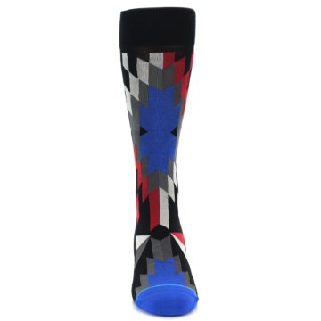 Image of Black Red Blue Aztec Pattern Men's Casual Socks (front-04)