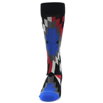Image of Black Red Blue Aztec Pattern Men's Casual Socks (front-05)