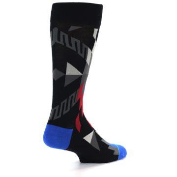 Image of Black Red Blue Aztec Pattern Men's Casual Socks (side-1-back-21)