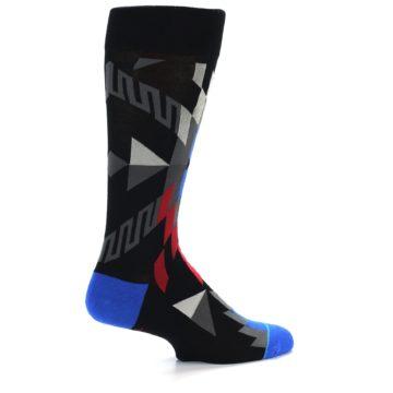 Image of Black Red Blue Aztec Pattern Men's Casual Socks (side-1-back-22)