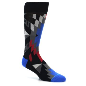 Image of Black Red Blue Aztec Pattern Men's Casual Socks (side-1-26)