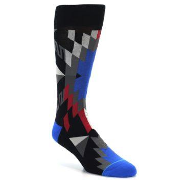 Image of Black Red Blue Aztec Pattern Men's Casual Socks (side-1-27)