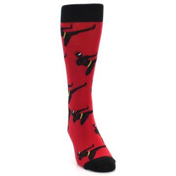 Image of Red Black Ninja Men's Dress Socks (side-1-front-03)