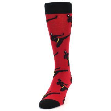 Image of Red Black Ninja Men's Dress Socks (side-2-front-06)