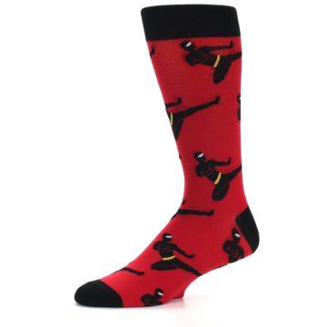 Image of Red Black Ninja Men's Dress Socks (side-2-10)