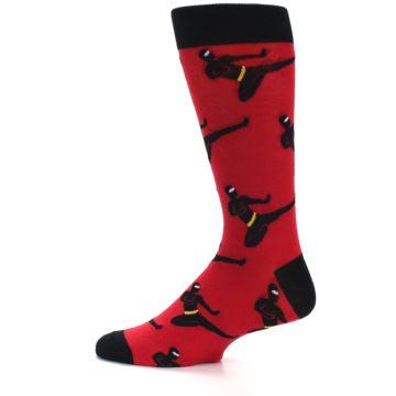 Image of Red Black Ninja Men's Dress Socks (side-2-12)
