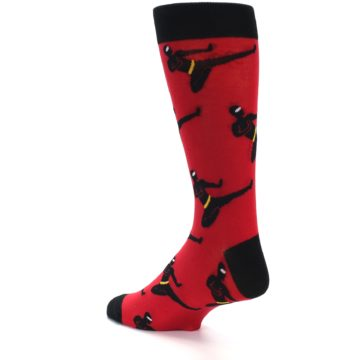 Image of Red Black Ninja Men's Dress Socks (side-2-back-14)