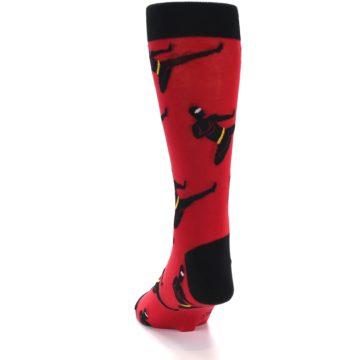 Image of Red Black Ninja Men's Dress Socks (side-2-back-16)