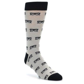 Image of Grey Black Glasses Men's Dress Socks (side-1-front-01)