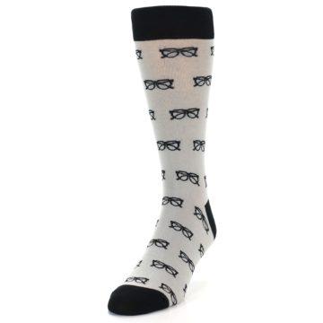Image of Grey Black Glasses Men's Dress Socks (side-2-front-06)