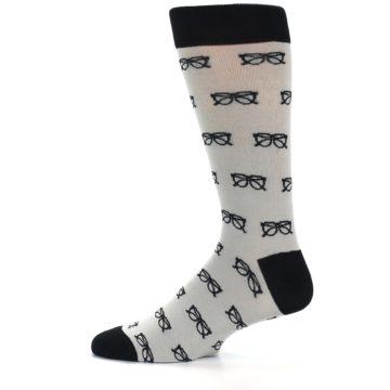 Image of Grey Black Glasses Men's Dress Socks (side-2-11)