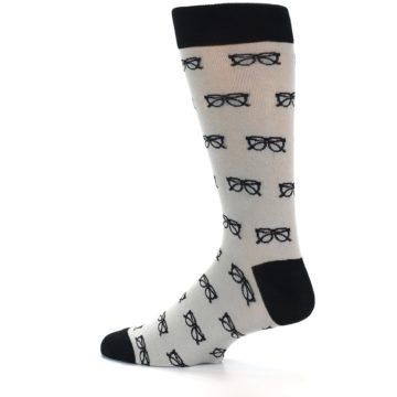 Image of Grey Black Glasses Men's Dress Socks (side-2-12)