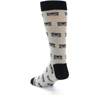 Image of Grey Black Glasses Men's Dress Socks (side-2-back-14)