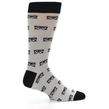 Image of Grey Black Glasses Men's Dress Socks (side-1-23)