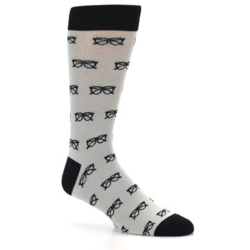 Image of Grey Black Glasses Men's Dress Socks (side-1-25)
