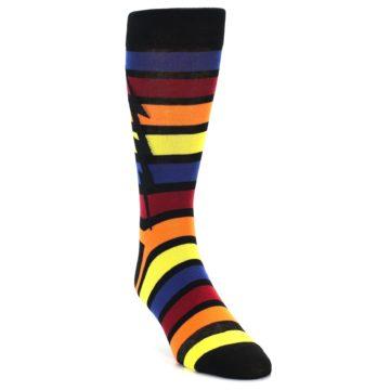 Image of Multi-Color Stripe Bolt Men's Dress Socks (side-1-front-02)