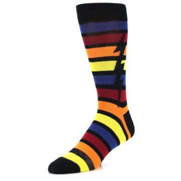 Image of Multi-Color Stripe Bolt Men's Dress Socks (side-2-front-08)