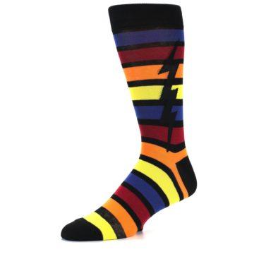 Image of Multi-Color Stripe Bolt Men's Dress Socks (side-2-09)