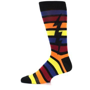 Image of Multi-Color Stripe Bolt Men's Dress Socks (side-2-11)