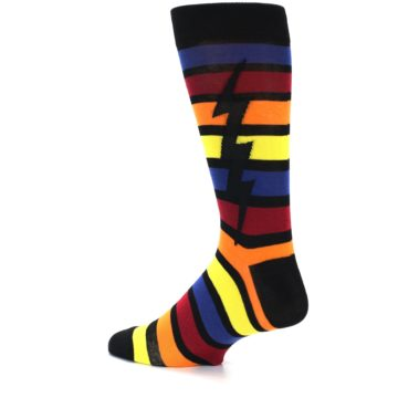 Image of Multi-Color Stripe Bolt Men's Dress Socks (side-2-13)