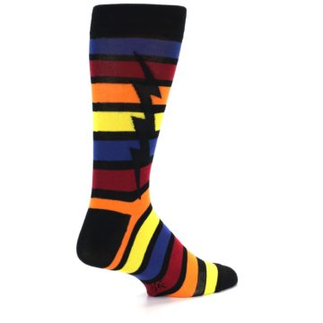 Image of Multi-Color Stripe Bolt Men's Dress Socks (side-1-back-21)