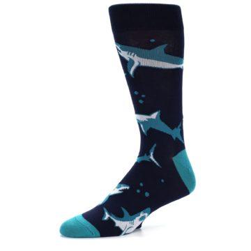 Image of Navy Blue Shark Attack Men's Dress Socks (side-2-09)