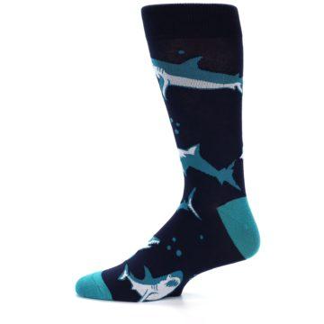 Image of Navy Blue Shark Attack Men's Dress Socks (side-2-11)