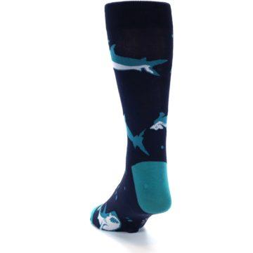 Image of Navy Blue Shark Attack Men's Dress Socks (side-2-back-15)